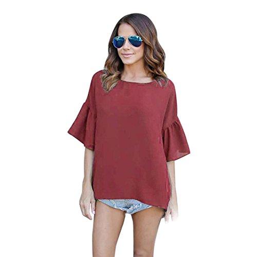 (Amlaiworld sommer strand Chiffon tops sport mode t-shirt Frühling damen elegant bluse Mädchen Gemütlich locker Oberteile elegant Freizeit Casual Weste (L, Rot))