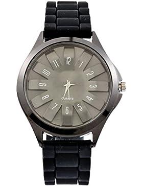 MJartoria Damen Herren Armbanduhr Quarz Uhr Modeschmuck Silikagel Mode Design Schwarz