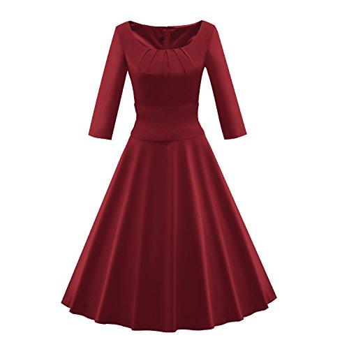 LUOUSE Vintage Retro Rockabilly Kleid Cocktailkleider Party Kleid, 3/4 Ärmel,winered,xl