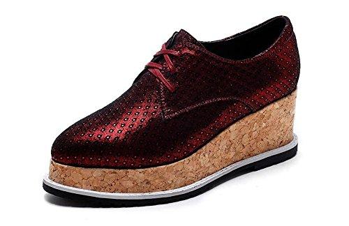 Beauqueen 2017 Pattini di moda piattaforma ascensore Alta moda mandibola Oxford Lace-up Primavera Estate Ufficio casual Cool Style Shoes Europa Size 34-39 Red