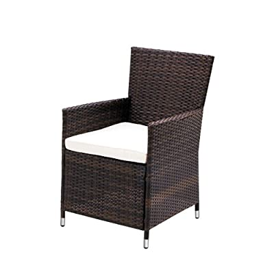 Miadomodo Garden Furniture Set of 4 Polyrattan Chairs & Seat Cushions Washable DIFFERENT COLOURS