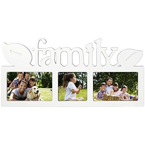 """fotorahmen family Hama Collage Bilderrahmen für Fotocollagen """"Montreal - Family"""" (Fotorahmen mit Family-Schriftzug und Blätter-Deko, für 3 Fotos, Kunststoff-Rahmen, Kunststoff) Fotogalerie weiß"""