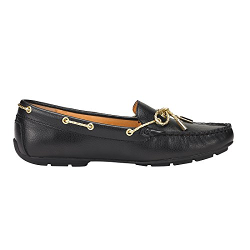 JENN ARDOR Wildleder Penny Loafers für Frauen: Vegan Leder Bow Knot Slip-On Driving Mokassins Lblack