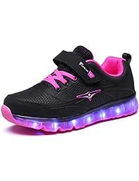 Ansel-UK LED Zapatos Verano Ligero Transpirable Bajo 7 Colores USB Carga Luminosas Flash Deporte de Zapatillas con Luces Los Mejores Regalos para Niñas Niños Cumpleaños