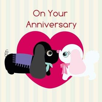 twizler Happy Anniversary, finitura con cristalli Swarovski rosa e cani, biglietto per anniversario di matrimonio