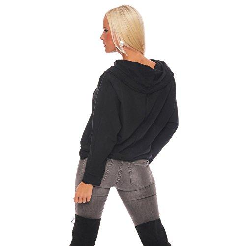 ZARMEXX Damen Sweatshirt Kapuzenpullover Vintage Hoodie Soft Cotton Oversize Longsleeve Pulli Schwarz