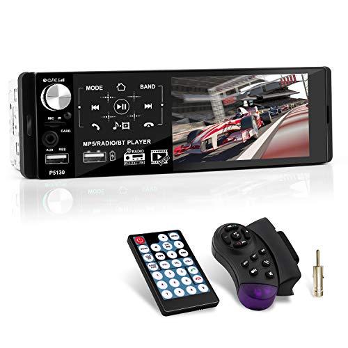 1 Din Autoradio MP5 mit Kapazitiver Touchscreen, Auto Radio mit Bluetooth Freisprecheinrichtung und Fernbedienung für Lenkrad, FM Radio/MP3 MP5 Player, 4,1 Zoll HD-Bildschirm, AUX/TF/2 USB