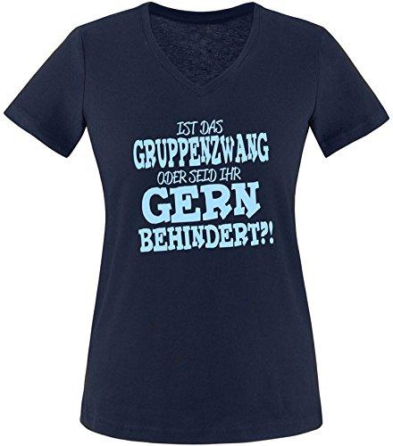 EZYshirt® Ist das Gruppenzwang oder seid ihr gern behindert Damen V-Neck T-Shirt Navy/Hellblau