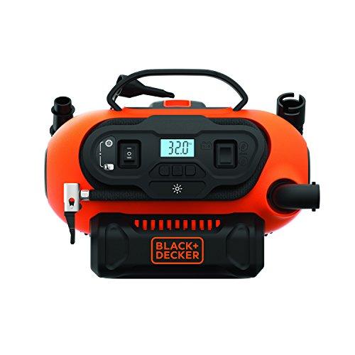Black+Decker BDCINF18N-QS 11.0 Bar Kompressor/Luftpumpe (mögliche Stromquelle: 12V-/230V-Anschluss oder 18V Akku, 160PSI, für Reifen, Bälle, Rollstühle, mit 2 Betriebsarten und Abpump-Modus)