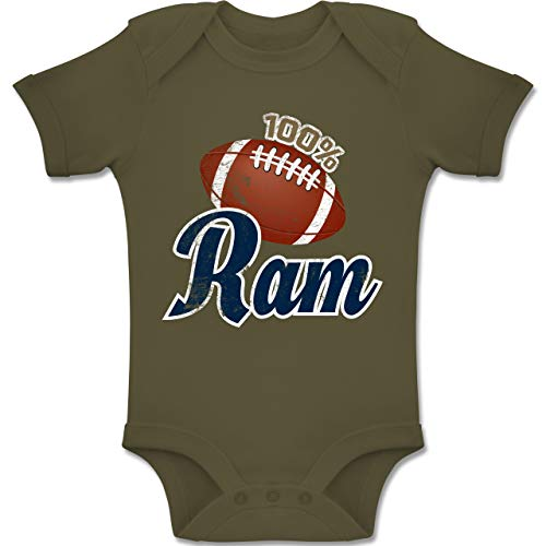 Sport Baby - 100% Ram - 1-3 Monate - Olivgrün - BZ10 - Baby Body Kurzarm Jungen Mädchen Rams Sb