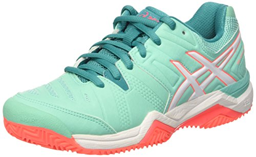 Asics Gel Challenger (Asics Damen Gel-Challenger 10 Clay Gymnastik, Verde (Cockatoo/White/Flash Coral), 42 EU)