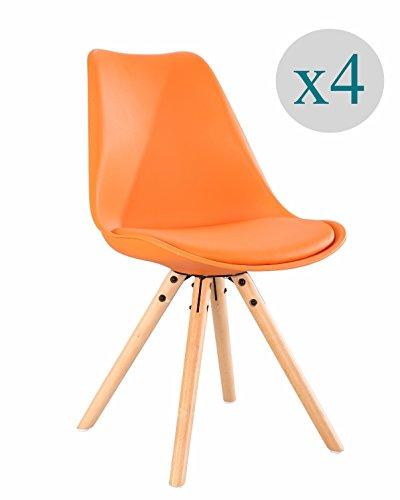 Aryana Home - Pack De 4 Silla nórdica Nordic (Tower EAME réplica) Color Naranja