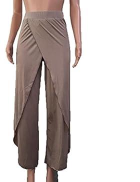 IMJONO Verano Mujeres Casual Pantalones sueltos Pantalón Amplio Culottes Estiramiento Pantalón Ropa