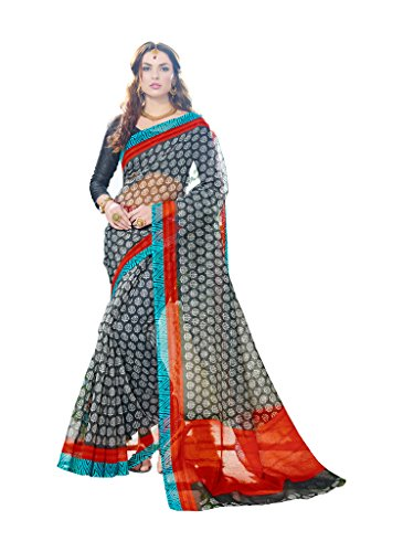 JHEENU Super net Printed Saree  available at amazon for Rs.699