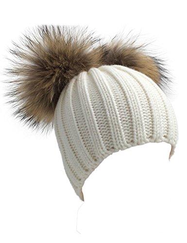 Damen Echtfell Waschbär Fell Pelz Bommel Strick Mütze Winter-Mütze Bommelmütze (Weiß) (Pelz-pom-pom Echte)