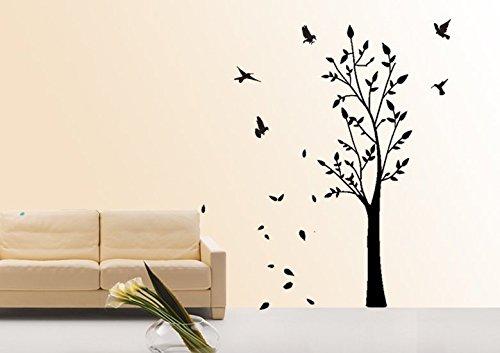 pared tatuaje adhesivo de pared Sala De Estar dormitorio habitación del niño cocina mariposa corazón zarcillo pájaro árbol 30 colores a elegir wbm12 (010 blanco, size1:ca 60x19 cm )