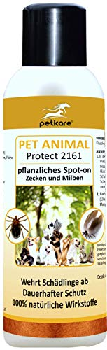 Peticare Zecken Spot-On Jahres-Schutz für Hunde, Katzen - 100% biologisches Spezial-Repellent, auch gegen Milben, Floh-Befall, rein pflanzlich, ohne giftige Chemie - petAnimal Protect 2161 (100 ml)