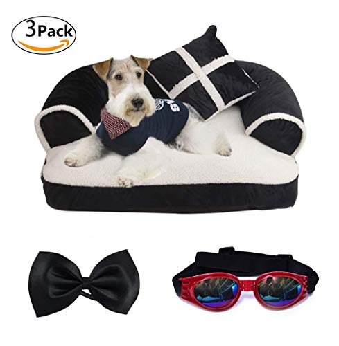 Segle Hundesofa Weiches und Comfort Haustierbett Hundematte für Kleiner Mittlerer Hunde Katzen Haltbares Hundebett Hundekorb mit Fliege und Faltbare Sonnenbrille-Schwarz-L