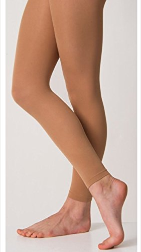Silky Footless Dance Tights Tan Children and Adults