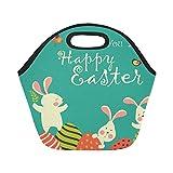 Le sac à lunch isolé en néoprène lapins oeufs de Pâques grande taille thermique réutilisable épais sacs fourre-tout à déjeuner pour les boîtes à lunch pour l'extérieur, travail, bureau, école