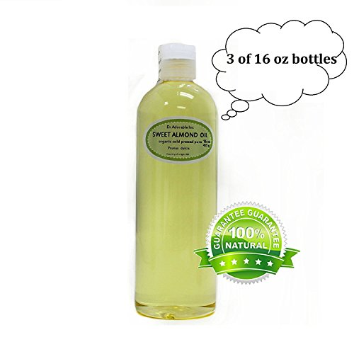 Sweet Almond Oil Organic Pure Cold Pressed by Dr.Adorable 48 Oz/ 3 Pint