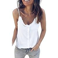Camiseta de Tirantes para Mujer,riou Chaleco de Color sólido con Cuello en v de Las Mujeres con Volantes Sexy Honda sin Tirantes sin Tirantes de Verano Blusa Crop Tops