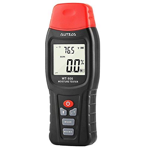 AUTSCA Feuchtigkeitsmessgerät Digital Holz Feuchtigkeitsmesser mit LCD-Display, 2 Pins Sensor, Feuchtemessgerät für Baustoffen und mehr als 50 Arten von Holz