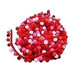 SUPVOX Pompom Borte Fransenband Trimm Ball Fransen Quasten Trim Zierborrte Bommelband für DIY Handwerk Kleid Schal Hut 4,5m (Rot)