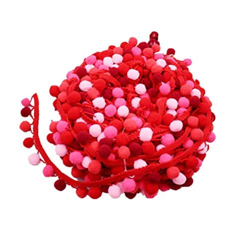 SUPVOX Pompom Borte Fransenband Trimm Ball Fransen Quasten Trim Zierborrte Bommelband für DIY Handwerk Kleid Schal Hut 4,5m (Rot) - Quaste Trim Schal