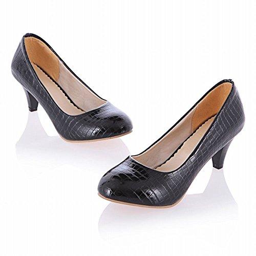 Mee Shoes Damen modern populär bequem runder toe Schlangen-Muster Geschlossen Trichterabsatz Pumps mit hohen Absätzen Schwarz