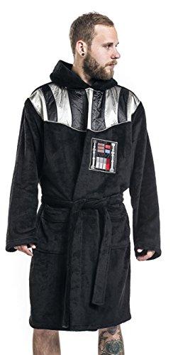 vestaglia unisex con cappuccio star wars Darth Vader taglia unica da adulto vestaglia da casa prodotto ufficiale guerre stellari con logo davanti e faccia di darth vader sulla schiena vestaglia da camera nera con cintura e fantasia sul petto