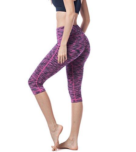 LAPASA Damen Capri Leggings 3/4 Sport Yoga Pants, 1 bis 2er Pack, High Wasit mit Tasche, MEHRWEG L002 (Magenta, XS (letzter Abbildung zufolge)) -