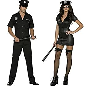 Ladies & Mens Fever Police Officer Uniform WPC Law Enforcement Emergency Services Hero Heroes & Villains Cops & Robbers Couples Matching Fancy Dress Costumes (Ladies UK 8-10 & Mens Large)