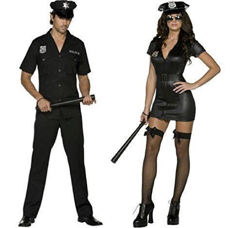 ren Fieber Polizist Uniform WPC Gesetz Vollzug Notfall Services Hero Helden & Bösewichte Polizisten & Räuber Paar passendes Kostüm - Schwarz, Ladies UK 16-18 & Mens Medium (Helden Und Bösewichte Kostüme)