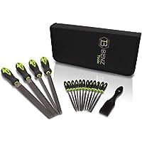 BENZ Tools® Juego de Limas [17 piezas] - Juego de Limas de Acero T12 de alta calidad con cepillo de Lima - 4 Grandes
