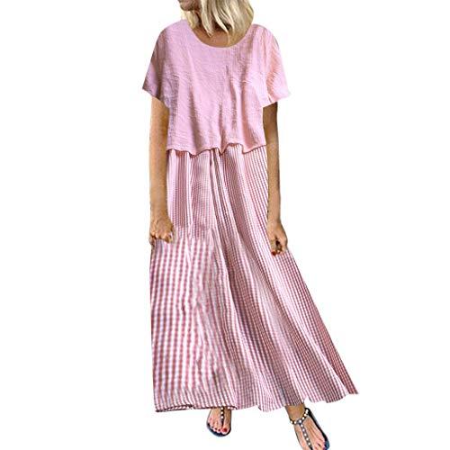 Deep lovly Damen Damen Einteiliges Zweiteiliges Kleid aus Baumwolle mit Leinenmuster O-Ausschnitt Kurzarm Plus Size Sommer Herbstmode Lässig Trendy Atmungsaktiv - Sexy Kostüm Sturm
