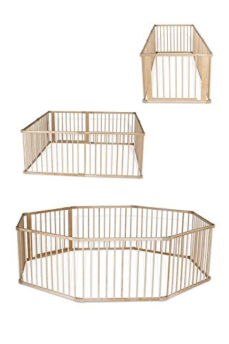 dibea BP00582, Andaderas de Bebé, Parque de madera (68 cm alto), 8 elementos (a 90x65 cm) incl puerta