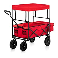 Uniprodo Folding Garden Cart With Canopy Collapsible Pull Wagon Hand Cart Garden Transport Festival Trolley Red UNI_CART_01 (Polyester Cover, Steel Frame, Solid Rubber Tyres, Max. Capacity 100kg)
