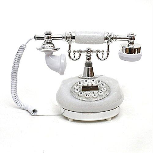 K-dd telefono vintage/telefono retro con corpo in legno e metallo, quadrante rotante funzionale e campana classica in metallo,white