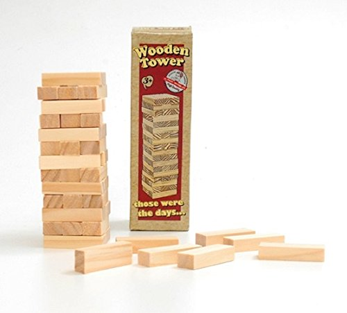 Retro Wooden Tower Puzzle. The classic game made from light wood.