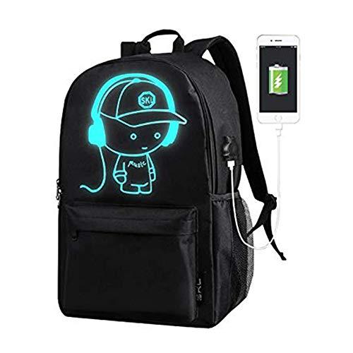 SKL Schulrucksack Kinder Schulrucksack Unisex Daypack Luminous Schultasche Music Boy Oxford Schule Tasche