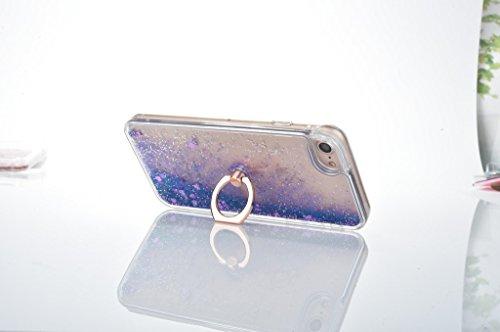 iPhone 7 Hülle,Mo-Beauty® Transparent Kreativ Design 3D Hard Case Liquid Bling Dynamisch Treibsand Flüssige Fließend Wasser Glitter Glitzer Glanz Sparkle Klar Hart Plastik Tasche Kristall Handytasche  Lila
