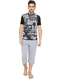 Nightwear For Men - Night Suit - Tshirt & Capri Combo Set - Sinker Material - Grey Color - Half Sleeves - Branded...
