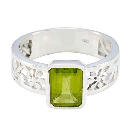 Chandra Edelsteine (gute edelsteine octogon facettierte peridot ring - sterling silber grün peridot gute edelsteine ring - home & living größte verkäufer geschenk für väter tag ring)
