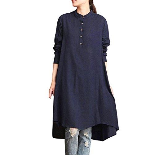 SEWORLD 2018 Damen Mode Sommer Herbst Frauen Kaftan Baumwolle Leinen Langarm-Lose Bluse Tops Shirt Baggy Pullover(Marine,XL) (2 Pocket-leinen-tunika)