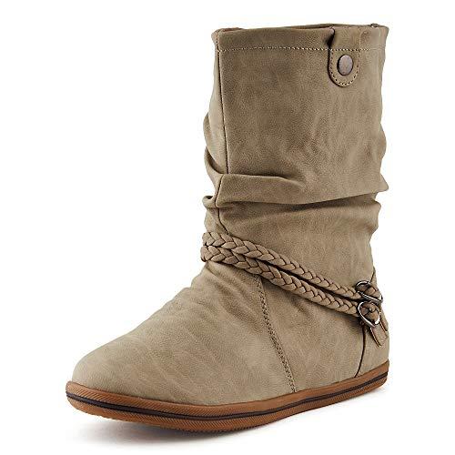 Fusskleidung Damen Boots Flach Schlupf Stiefel Stiefeletten Grau/ungefüttert EU 40
