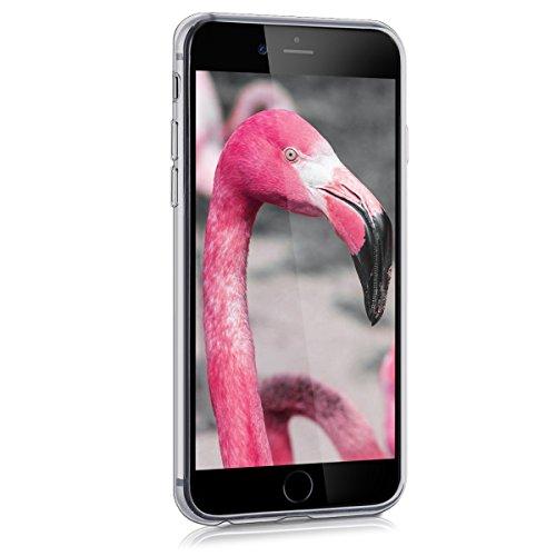 kwmobile Housse miroir pour Apple iPhone 6 / 6S Étui TPU en silicone cover portable, housse de protection en couleur argent miroitant Flamants et fleurs rose foncé blanc transparent