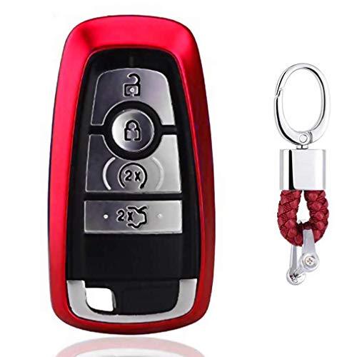 Rot Car Keyless Entry Key Cover Fall für 2017 Ford Fusion F250 F350 F450 F550 2018 Edge Explorer 4/5-Buttons, weiches TPU Schutzhülle mit Schlüssel Kette (Ford F450 Zubehör)