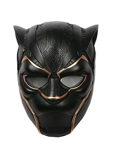Marvel Black Panther Kostüm Helden - Wellgift Black Panther Maske Halloween Schwarze Helm Cosplay Erwachsene Herren Held Vollen Kopf Deluxe Harz Replik Karneva Kostüm