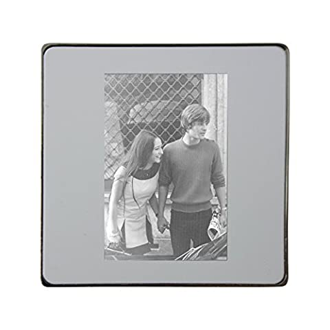 Metal square fridge magnet with Olivia Hussey and Leonard